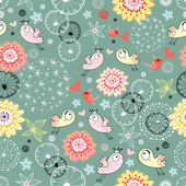 Floral pattern with birds in love — Stock Vector