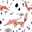 Royalty-Free Stock Vector Image: Texture of foxes in the woods