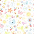 Stok Vektör: Summer pattern of flowers and butterflies