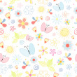 Summer pattern of flowers and butterflies — Stock Vector