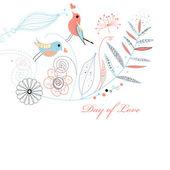 美しい愛カード、ベクトル イラスト — 图库矢量图片