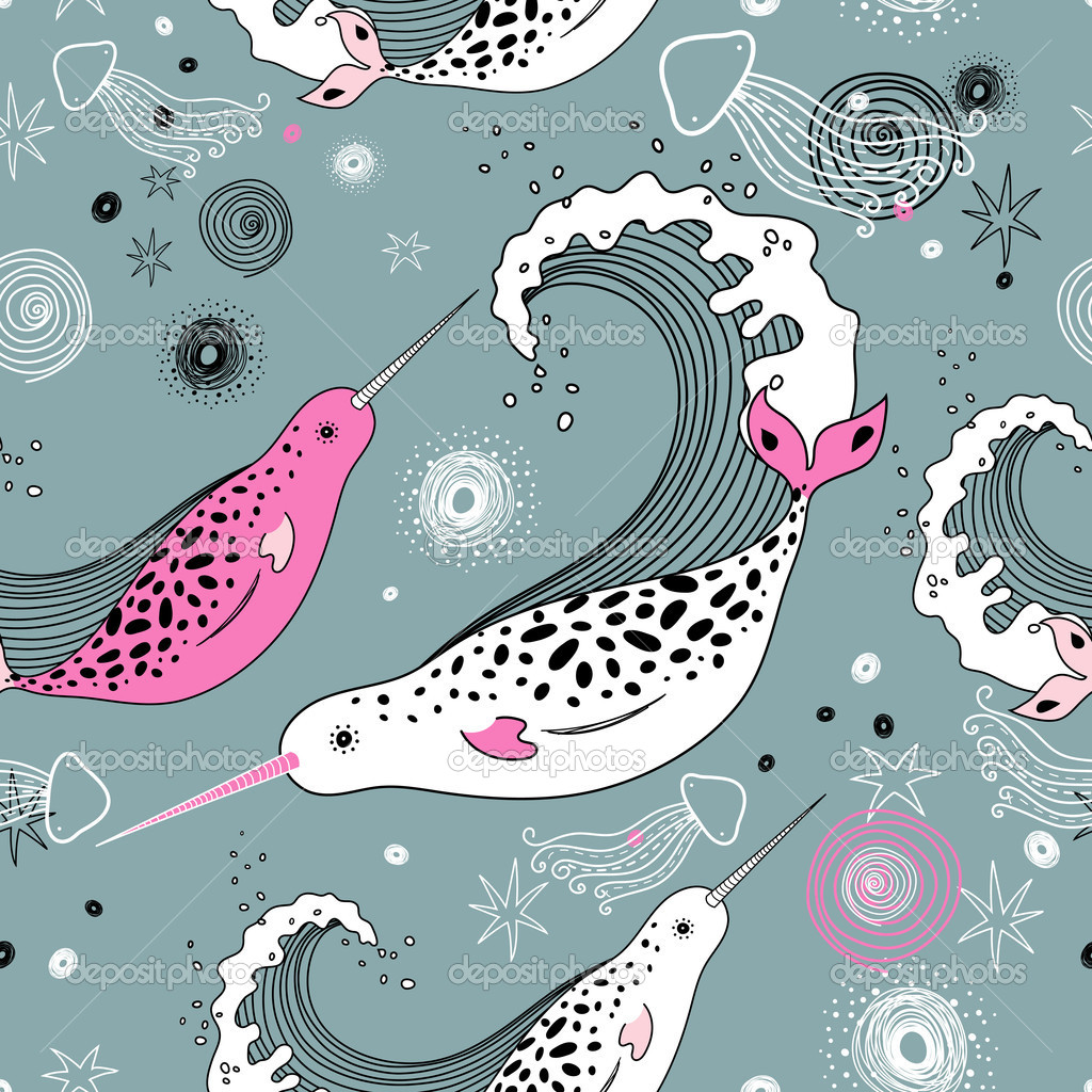 Seamless pattern of marine whales and jellyfish on a gray background — Stock Vector #5468815