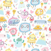 A pattern of funny monsters — Stock Vector