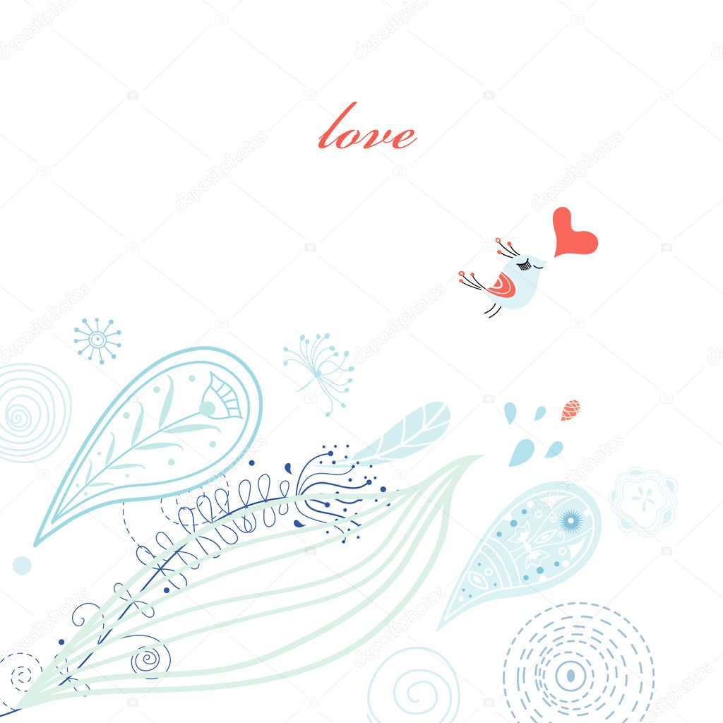 Plant with blue patterned card with a love bird on a white background  Stock Vector #5583738