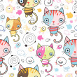 Pattern of kittens and fish — Stock Vector