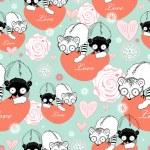 Texture love lemurs — Stock Vector #5663837