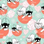 Texture love lemurs — Stock Vector