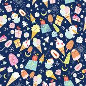 Texture of ice cream and jolly snowmen — Stock Vector
