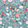 Floral pattern with insects — Stock Vector