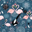 Stock Vector: Pattern of love flamingos