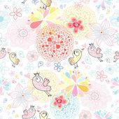 Kwiatowy wzór z ptaków w miłości — Wektor stockowy