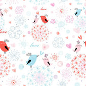 Texture love little birds — Stock Vector