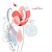 Flower of Love postcard — Stock Vector