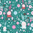 Pattern of the fun of bunnies and flowers — ストックベクタ