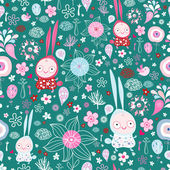 Pattern of the fun of bunnies and flowers — Stock Vector