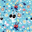 Texture of flowers and funny bunnies — Stock Vector