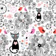 Stock Vector: Floral pattern with black cats and birds