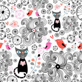 Floral pattern with black cats and birds — Stock Vector