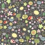 textura de insectos y flores — Vector de stock