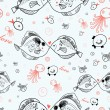 Seamless pattern of kissing fish — Stock Vector
