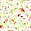 Vector de stock : Texture of ladybirds in the grass