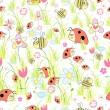 textura de mariquitas en la hierba — Vector de stock