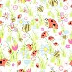 Texture of ladybirds in the grass — Stock Vector