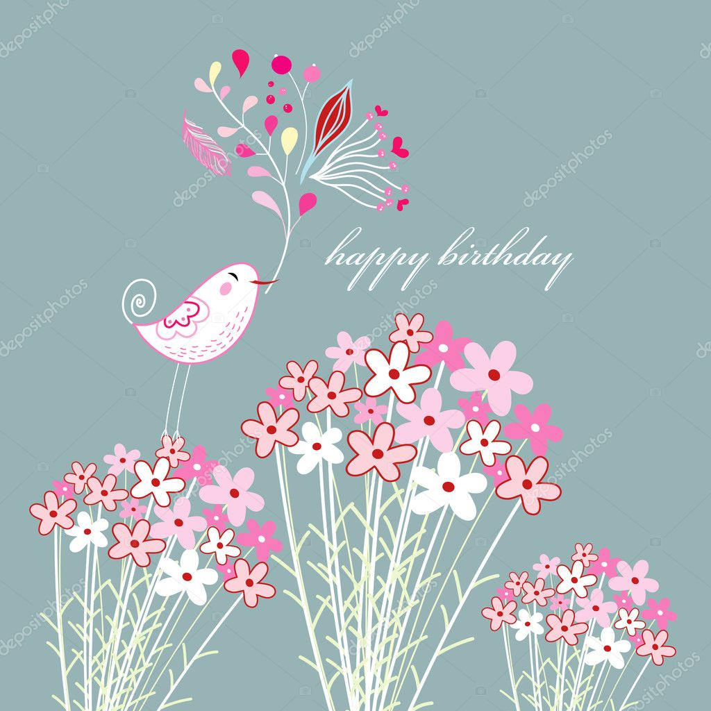 Bright greeting card with a bird and flowers on a gray blue background   Stock Vector #6149538