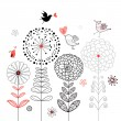 Flower card with birds - Stock Vector