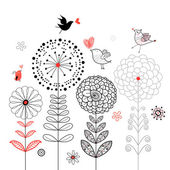 Flower card with birds — Stock Vector