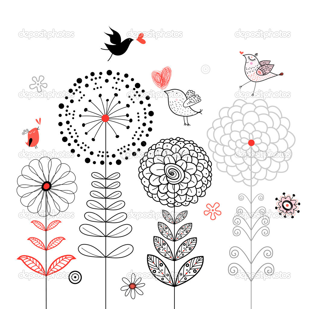 Floral graphics card with black birds on a white background  — Stock Vector #6302436