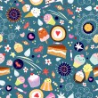 Pattern of fun cakes — Stock Vector