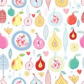 Autumn fruit pattern — Stock Vector