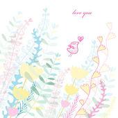Plant postcard love bird — Stock Vector