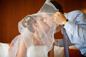 Newlywed couple kissing each other — Stock Photo