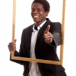 Black businessman picturefram — Stock Photo