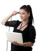 Ung kvinna powercord hjärnan — Stockfoto