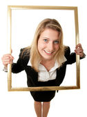 Businesswoman pictureframe wideangle — Stock Photo