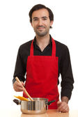 Chef with pasta pot — Stock Photo