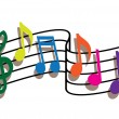 Colored music notes — Stock Vector