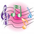 Colored music notes - Stock Vector