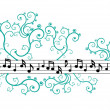 Stock Vector: Music notes with ornament