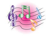 彩色的音乐笔记 — 图库矢量图片