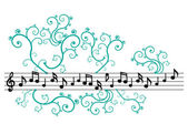 Music notes with ornament — Stock Vector