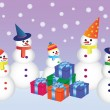 Stock Vector: Five snowmen with presents