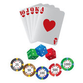 Playing cards and dice — Stock Vector