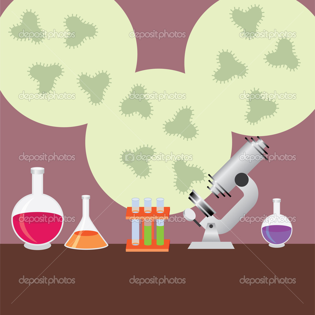 Test tubes, microscope and vials for medical research  Stock Vector #6674317