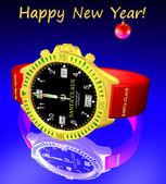 Santa Claus clock. New Year 2012 — Stock Photo