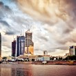 Moscow cityscape at sunset - Stock Photo
