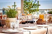 Summer terrace cafe setting — Stock Photo
